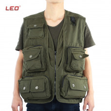 LEO ARMY GREEN FISHING VEST